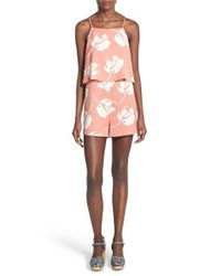 Lush - Pink Print Popover Romper - Lyst