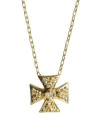 Elizabeth Showers - Metallic 18k Mini Maltese Diamond Pendant Necklace - Lyst