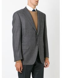 Canali - Gray Checked Blazer for Men - Lyst