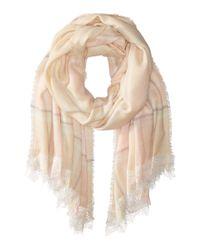 Betsey Johnson | Natural Lace Trim Plaid Blanket Wrap | Lyst