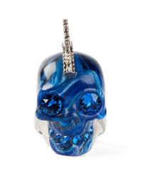 Alexander McQueen - Blue Mohican Skull Cocktail Ring - Lyst