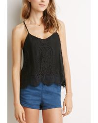 Forever 21 - Black Floral Lace Cami - Lyst