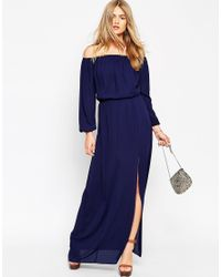 ASOS | Blue Off The Shoulder Maxi Dress | Lyst