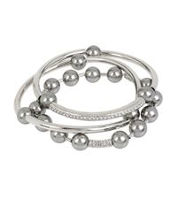 Kenneth Cole | Metallic Faux Pearl Bracelet Set | Lyst