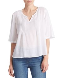 DKNY | White Pleated Detail Split-Neck Top | Lyst