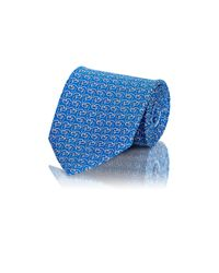 Ferragamo | Blue Men's Dog-profile-print Twill Necktie for Men | Lyst