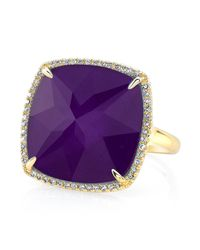 Anne Sisteron - Metallic 14kt Yellow Gold Alunite Diamond Cushion Cut Cocktail Ring - Lyst