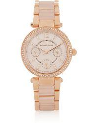 Michael Kors - Pink Parker Crystal-Embellished Rose Gold-Tone Watch - Lyst