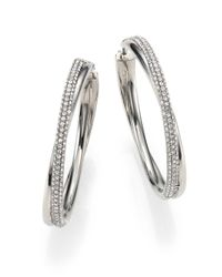 Michael Kors | Metallic Brilliance Statement Pave Crossover Silvertone Hoop Earrings/1.75 | Lyst