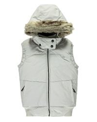 Bench | White Pushbroom B Gile Faux Fur Trimmed Vest | Lyst