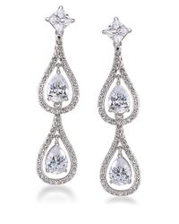 Carolee | Metallic Crystal Stems Double Teardrop Earrings | Lyst