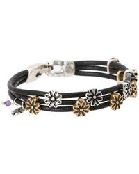 Lucky Brand | Black Flower Woven Bracelet | Lyst