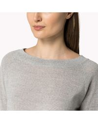 Tommy Hilfiger | Gray Wool Boat Neck Sweater | Lyst