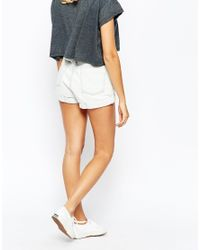 American Apparel - White High Rise Denim Cuff Shorts - Lyst