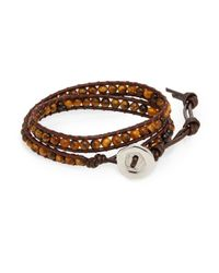 Jan Leslie - Brown Leather Wrap Bracelet for Men - Lyst