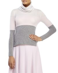 Les Copains - Gray Color Block Cashmere Turtleneck Sweater - Lyst