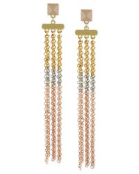 Steve Madden | Metallic Tri-tone Chain Linear Earrings | Lyst