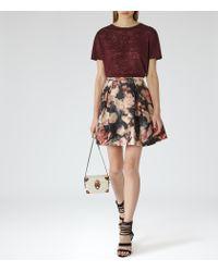 Reiss | Brown Adi Textured Jersey T-shirt | Lyst
