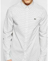Lacoste L!ive | Gray Shirt With Dobby Pattern for Men | Lyst