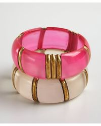 Chamak by Priya Kakkar - White Set Of Two Hot Pink and Pearl Acrylic Bangle Bracelet - Lyst