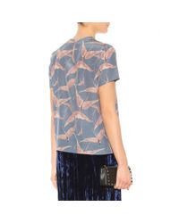 Valentino - Blue Printed Silk Top - Lyst