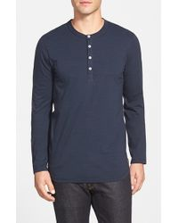 7 For All Mankind | Blue Long Sleeve Henley for Men | Lyst