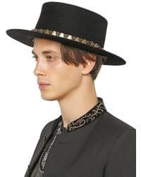 Saint Laurent - Black Studded Felted Lapin Hat for Men - Lyst