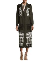 Haute Hippie - Black Jacquard Long Coat W/suede Pockets - Lyst