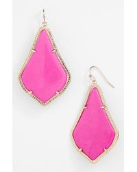 Kendra Scott | Purple 'alexandra' Large Drop Earrings - Magenta Magnesite/ Gold | Lyst