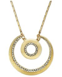 INC International Concepts - Metallic Gold-tone Crystal Accent Double Circle Pendant Necklace - Lyst