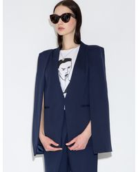 Pixie Market - Blue Lucy Navy Pointed Blazer Cape - Lyst