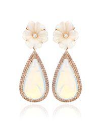 Nina Runsdorf - 18k Pink Gold and White Opal Flower Earrings - Lyst