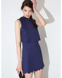 Pixie Market - Blue Natalie Scalloped Navy Dress - Lyst