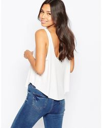 RVCA - White Logo Cropped Vest Top - Lyst