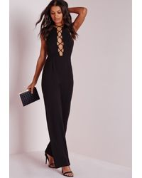 Missguided | Lace Up Front Jumpsuit Black | Lyst