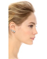 Rebecca Minkoff - Metallic Mix Matched Oval Earrings - Silver/Howlite - Lyst