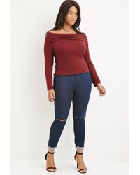 Forever 21 - Purple Plus Size Folded Off-the-shoulder Top - Lyst