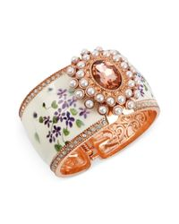 Betsey Johnson | White Floral Wide Hinged Bangle Bracelet | Lyst