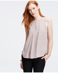 Ann Taylor - Gray Square Dot Pleated Matte Jersey Shell - Lyst