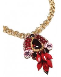 Matthew Williamson | Metallic Red Crystal Cluster Necklace | Lyst