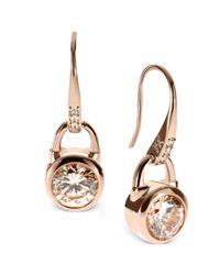 Michael Kors - Metallic Rose Goldtone Silk Padlock Drop Earrings - Lyst
