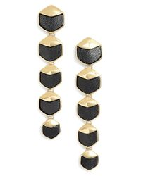 Rachel Zoe | Black 'alana' Leather Linear Earrings | Lyst