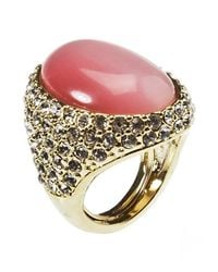Kenneth Jay Lane | Pink Women's Gold Plated With Rose Stone Ring | Lyst