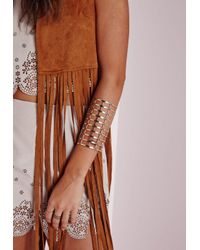 Missguided | Metallic Cage Cut Out Cuff Gold | Lyst