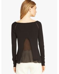 Halston - Black Chiffon Insert Sweater - Lyst