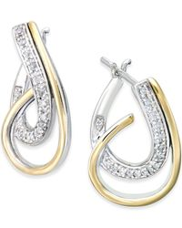 Macy's - Metallic Diamond Hoop Earrings (1/4 Ct. T.w.) In Sterling Silver And 14k Yellow Gold - Lyst
