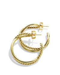 David Yurman | Yellow Crossover Hoop Earrings In Gold | Lyst