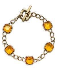 Michael Kors | Metallic Cushion Stone Curb Chain Bracelet | Lyst