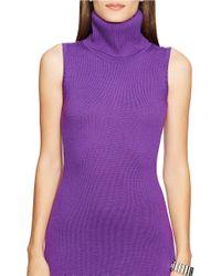 Lauren by Ralph Lauren | Purple Merino Turtleneck Dress | Lyst