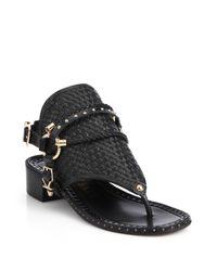 Ivy Kirzhner - Black Collossus Leather Toe-ring Sandals - Lyst
